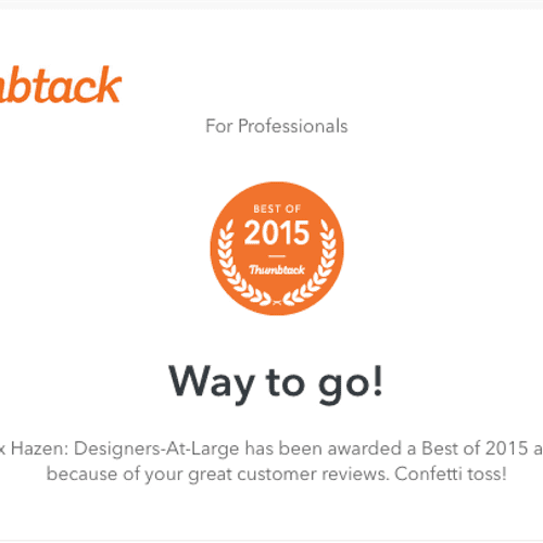 """A commendation I received for one of """"Seattle's Best"""" with Thumbtack.com, for getting great reviews in 2015 for Thumbtack work."""