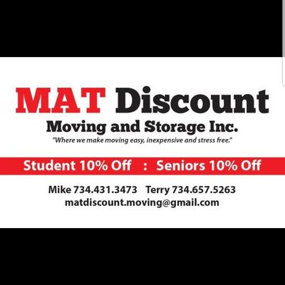 Avatar for MAT Discount Moving and Storage lnc. Ypsilanti, MI Thumbtack