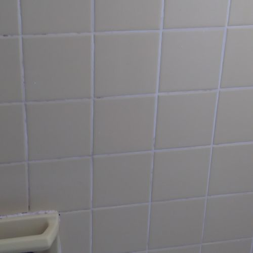 After: Clean shower tiles.