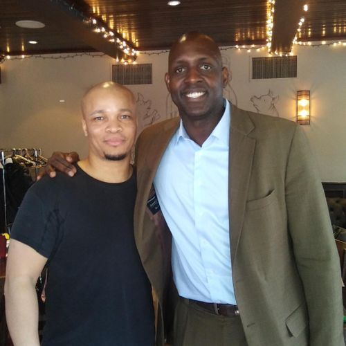 With Desmond Clark former Chicago Bear my massage company working this event