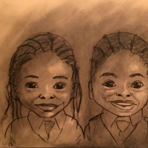 The cutest twins I've ever done a caricature for!