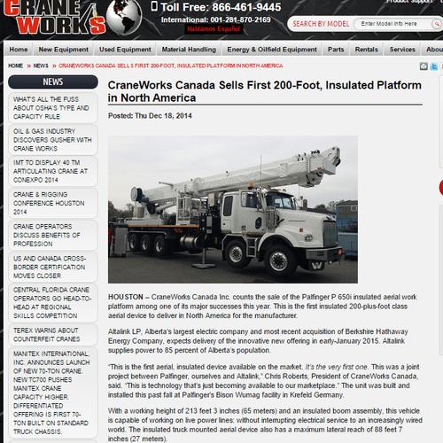 News release; CraneWorks Inc., Houston, Texas.