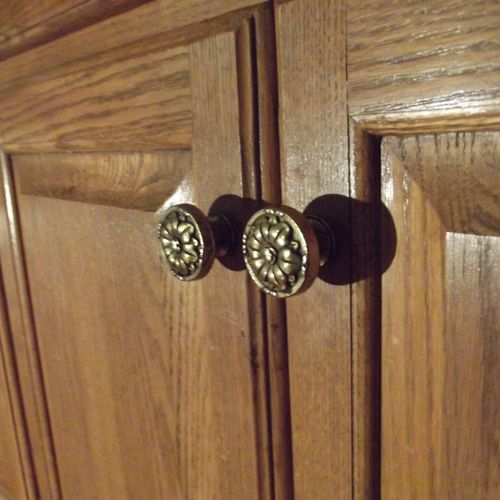 Handmade cabinet doors to a hutch.