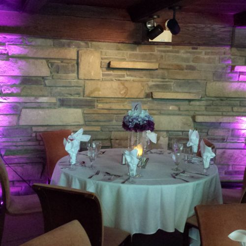 Uplighting for wedding reception at Heyholde Castle in Moon Township, PA