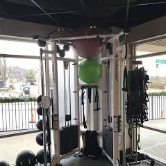 Cable cross, resistance bands, and exercise balls
