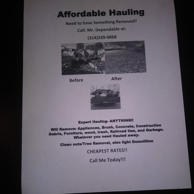 Avatar for MR. DEPENDABLE HAULING & DEMOLITION SERVICES