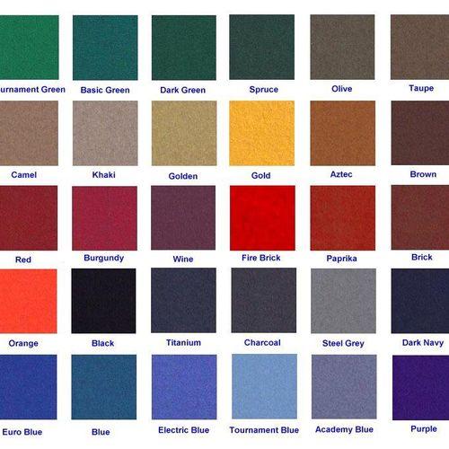 Teflon coated Proline 303 felt color choices