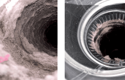 Johnson County dryer vent before and after
