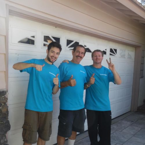 Jose A, Jose F, and Zach pose for a picture pumped and ready to move a family in North Hills to Lake Balboa.