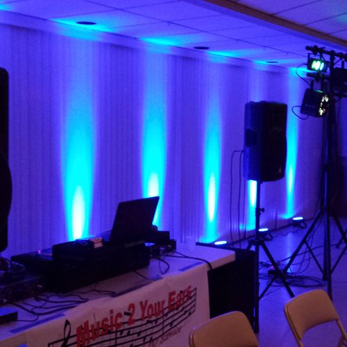 Wedding reception with blue uplights at Delmont, VFD, Delmont, PA