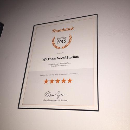 Thumbtack's Best of 2015 Award