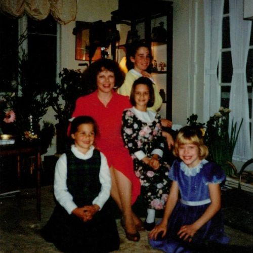 December 8, 1986 piano party, Greenwich, Connecticut: Gloria Huffman with four fabulous young students.