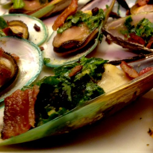 Smoked Mussels with Bacon