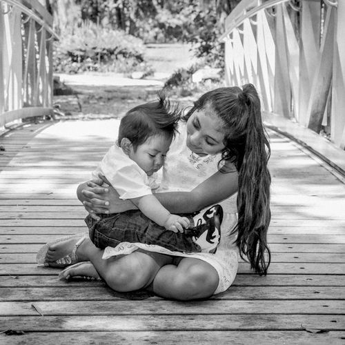 black and white childrens portrai