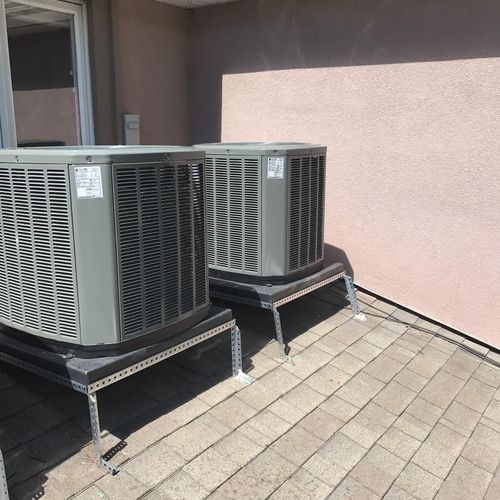 Air conditioners placed on a rooftop