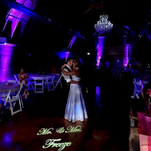 We can provide the pink up-lighting & the personalized light!  How great is this picture!?!?