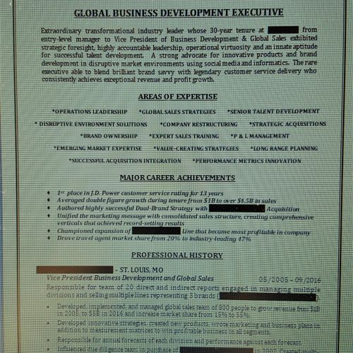 Sample Executive Resume Excerpt