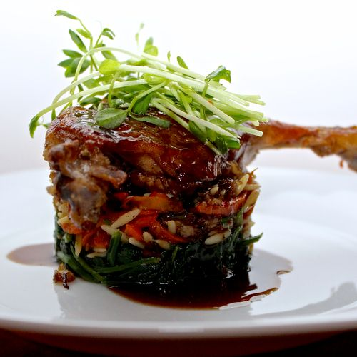 Duck Confit with Spinach and Toasted Farro