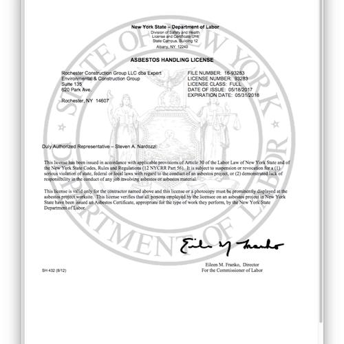 NYS Asbestos Handling License