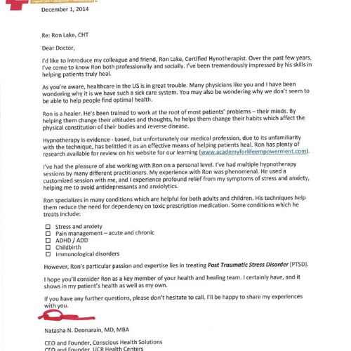 Letter of Recommendation from Dr. Deonarain MD (Arizona) to other Doctors