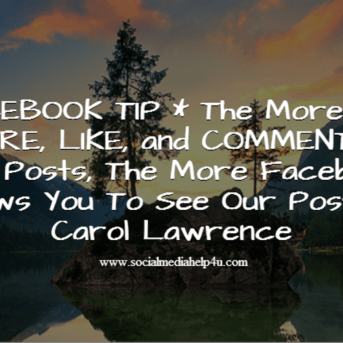 Every time someone likes, comments or shares your FB page ...Facebook bumps your content back into the newsfeed giving you more exposure.