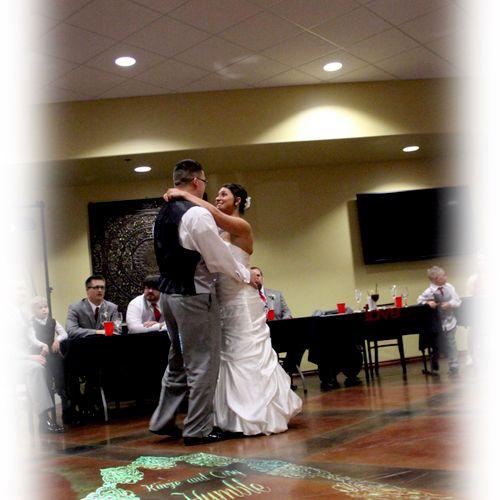 Wedding Reception First Dance with Custom Moniker on Dance Floor
