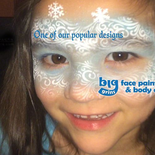 A very popular Big Grins Winter Princess airbrush face painting. Everyone absolutely loves this design! (smudge-proof, yet easily removed with soap and water).