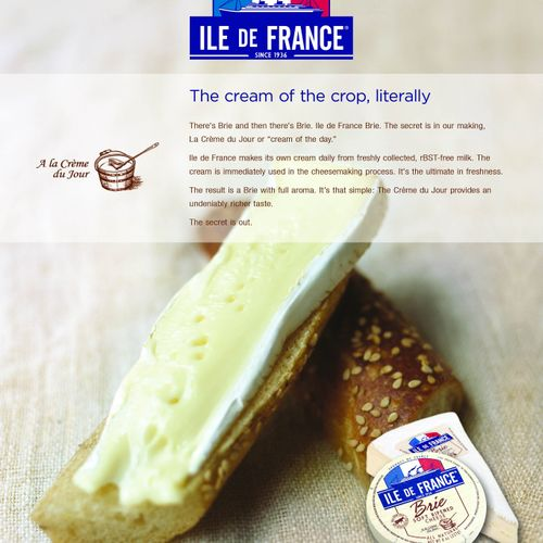Copy for magazine ad for gourmet cheese company - client is interactive agency in NYC