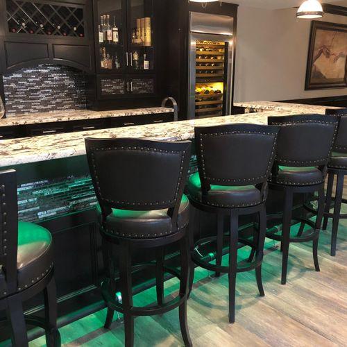 LED lighting under the bar