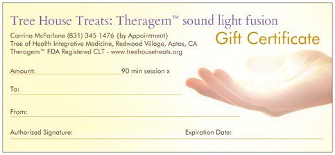 Theragem Crystal Light Therapy (CLT) gift certificates available for single session 90 minite session ($80) or series. An incredible gift for someone near & dear to you who is intent on working their bright edge!