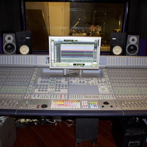 Control Room A mixing board D-Con 32 channel Blue