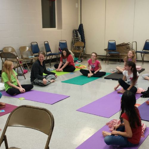 Teaching Girl Scout Troop about fitness, yoga and laughter