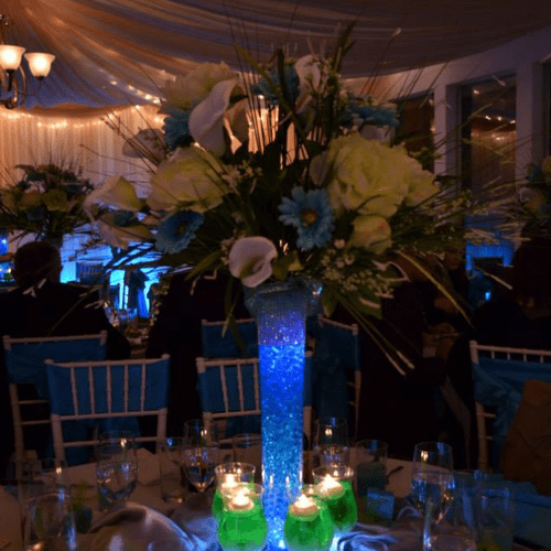 Full Centerpiece from Floral Arrangement to glowing goblets