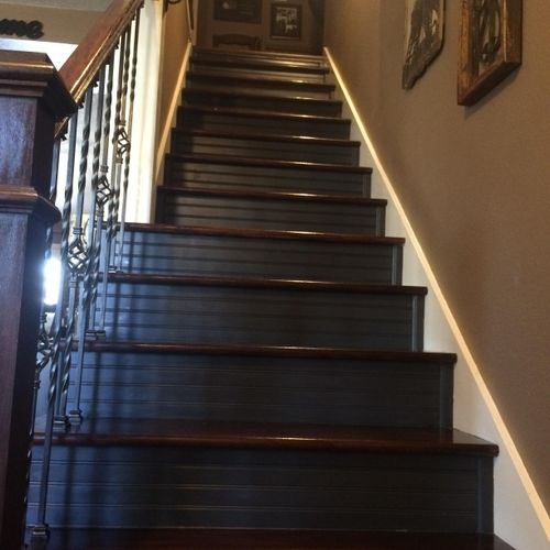 After Oak Stained stair treads & Painted risers
