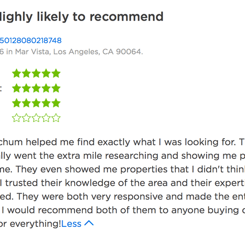Review on Zillow from a client.