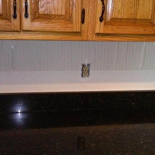 Kitchen before install of back splash.