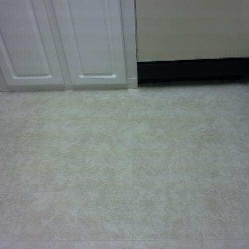 kitchen floor under dishwasher AFTER