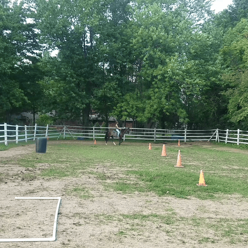 Outdoor arena practicing for Fun Shows (Gymkahna) & Trail Obstacle Competitions!