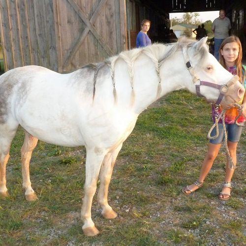 Levi, having fun with a farm guest.