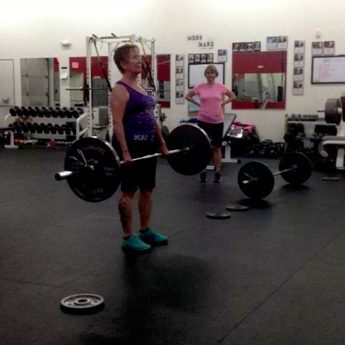 Marie, deadlifting 135 for the first time :-)