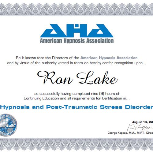 Certification in Hypnosis and Post Traumatic Stress Disorder