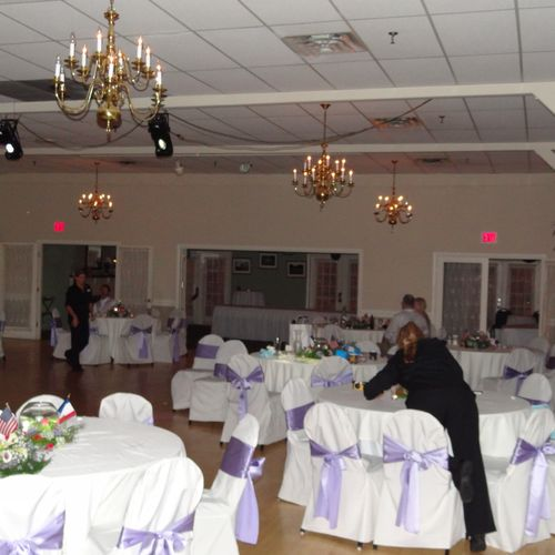 """This couple for their wedding wanted a """"club"""" like atmosphere and music, the lighting above (black boxes) was installed for their wedding reception by DJ Alan"""