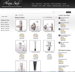 Extensive Shopping via categorized shopping catalog and upselling and social media integration features www.alexasady.com