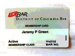 District of Columbia Bar card.