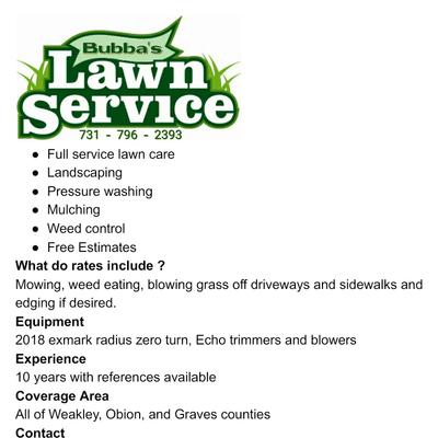 Avatar for Bubba's Lawn Service