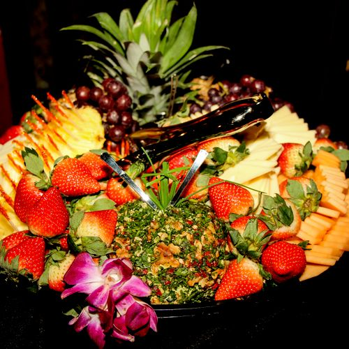 The exotic fruit and cheese tray