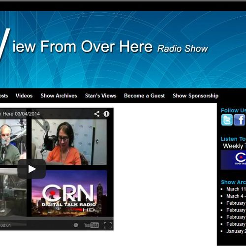 View From Over Here - website for internet radio show - access to videos & podcasts of radio show