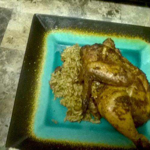 baked chicken w/  wild  rice