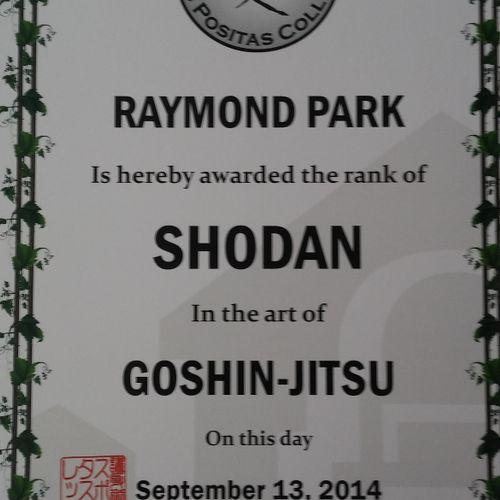 Shodan (First degree black belt) Certificate
