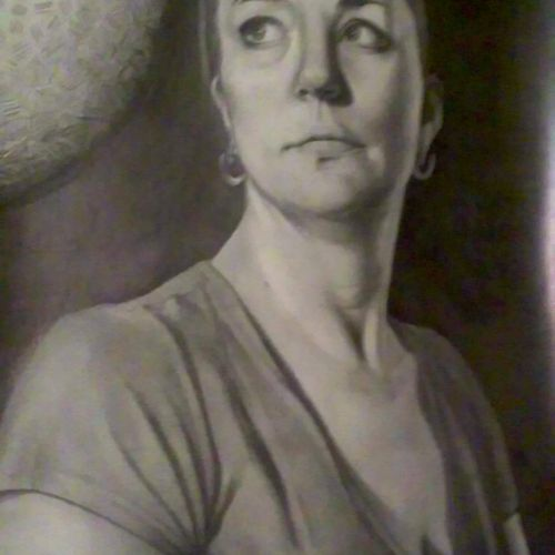 This is a self portrait, drawn in pencil that has been hung on the walls of the life drawing room at the Art Institutes without chalenge for several years now.